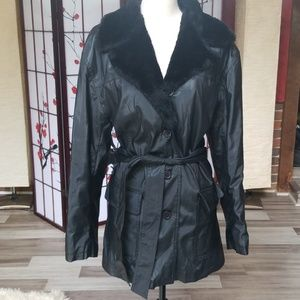 Learsi Mid-Length PVC Trench Coat with Fur Collar